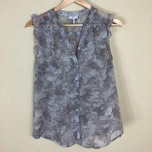 Euc Joie 💯 silk sleeveless button grey top S